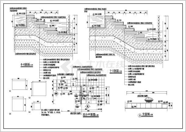 某市旱喷泉广场设计cad全套景观施工图-图一