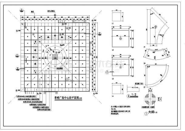 某市旱喷泉广场设计cad全套景观施工图-图二