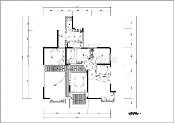 保定市某新建小区130平米户型全套装修施工设计CAD图纸-图二