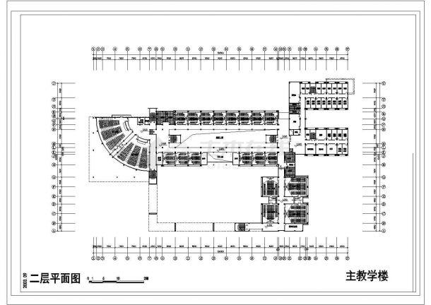 某学校建筑单体规划cad施工图-图二
