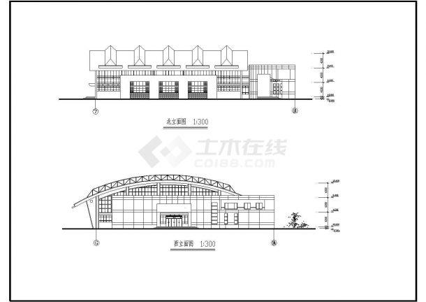某学校体育馆方案规划cad施工图-图二