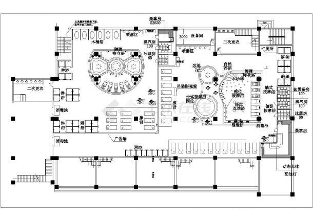 某大型现代桑拿水疗城水区规划设计cad总平面施工图-图一