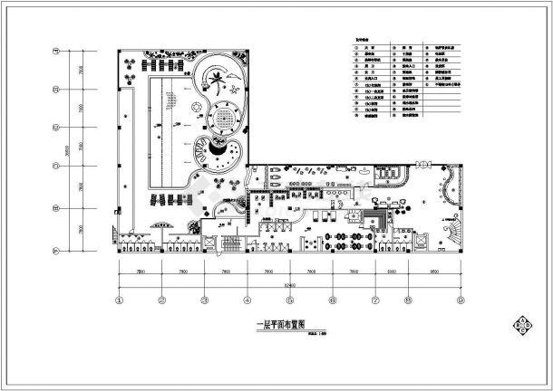 某多层框架结构洗浴中心室内装修设计cad平面布置图-图二