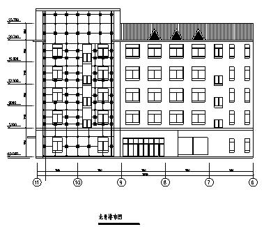 图书馆设计_某市五层图书馆建筑外装饰施工cad图(带效果图)-图一