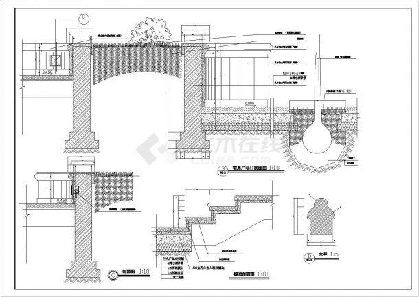 某喷泉水景广场设计cad景观施工图-图一
