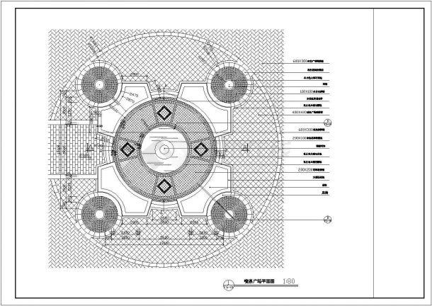 某喷泉水景广场设计cad景观施工图-图二