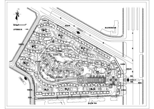 郑州市中源大道昌乐花苑小区总平面规划设计CAD图纸-图一
