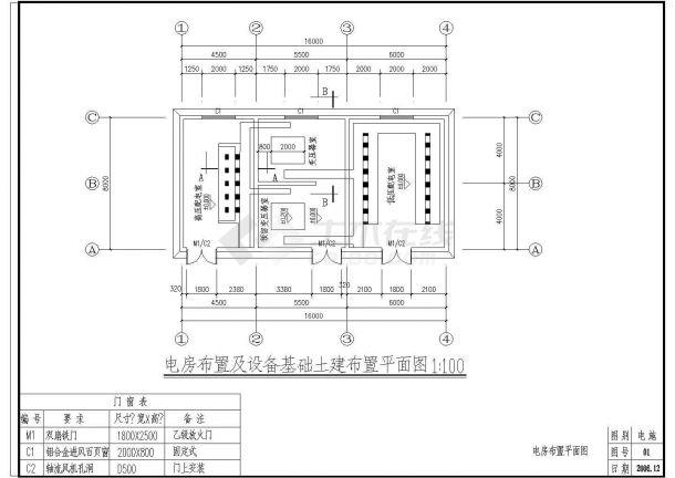 [施工图]某配电房及设备基础布置电气CAD建筑设计施工图-图二