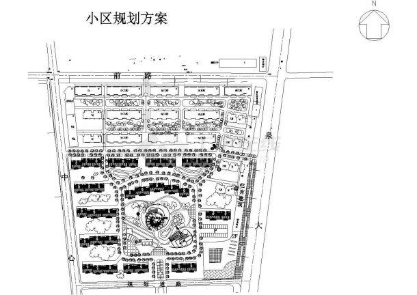南充市广兰路某大型居住区总平面规划设计CAD图纸-图一