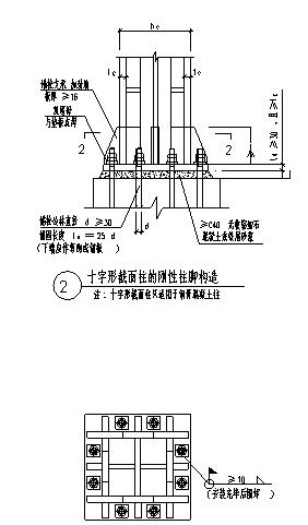 常见的刚性柱脚节点构造设计cad图(含两种设计)-图一