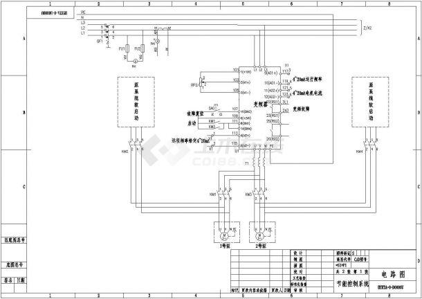 经典ABB变频器一拖二控制系统设计CAD电气原理图-图一