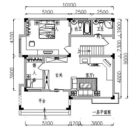 住宅设计_某三层砖混结构阳光型住宅建筑施工cad图,含效果图-图一