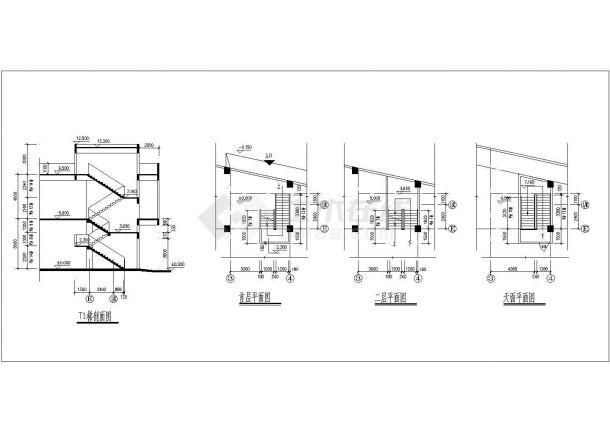 某二层框架结构商业用房设计cad全套建筑施工图-图一