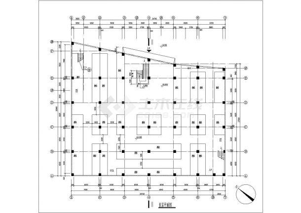 某二层框架结构商业用房设计cad全套建筑施工图-图二