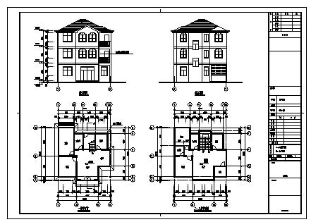 别墅设计_三层砖混结构新农村单家独院式别墅建筑施工cad图,含效果图-图一