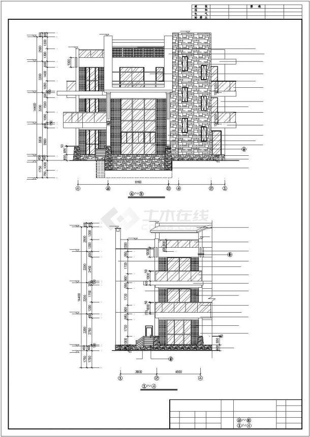 太原市某村镇420平米三层砖混结构欧式风格民居楼建筑设计CAD图纸-图一