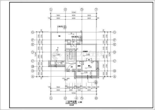 西安市某现代村镇三百平米三层砖混结构独栋别墅楼全套建筑设计CAD图纸-图一