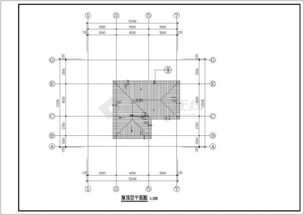 西安市某现代村镇三百平米三层砖混结构独栋别墅楼全套建筑设计CAD图纸-图二
