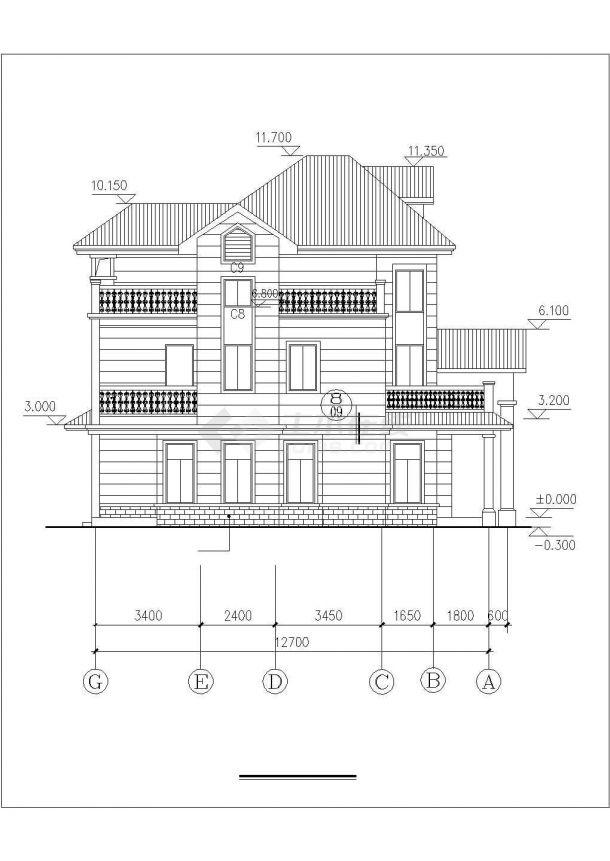 大连市和平区陈家村某2层砖混结构别墅楼平立面设计CAD图纸(含阁楼)-图一