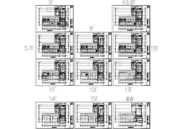 某地区高层办公楼给排水设计方案施工CAD图纸-图二