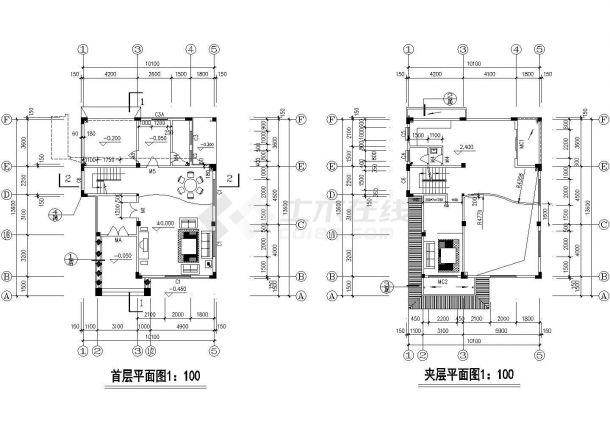 渭南市河西村某三层砖混结构私人独栋别墅建筑设计CAD图纸-图一