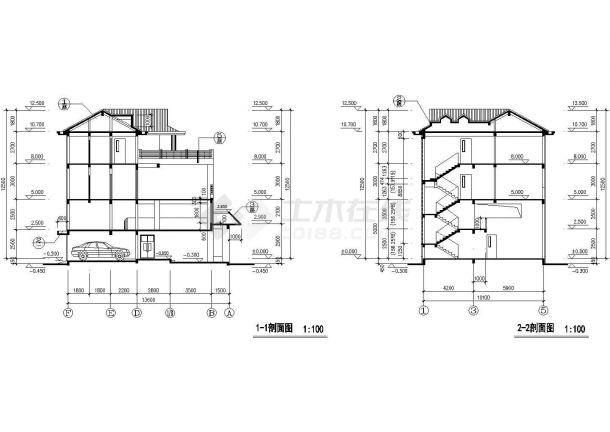 渭南市河西村某三层砖混结构私人独栋别墅建筑设计CAD图纸-图二