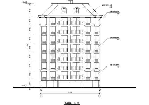 某小区一梯两户坡屋顶八层住宅楼bob电竞app设计全套施工图(含门窗表、设计说明)-图一