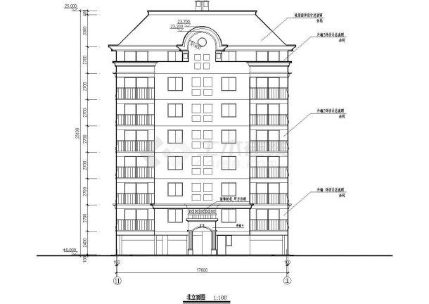 某小区一梯两户坡屋顶八层住宅楼bob电竞app设计全套施工图(含门窗表、设计说明)-图二