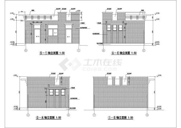某单层砖混结构公共厕所(含管理室)设计cad全套建筑施工图(含设计说明)-图一