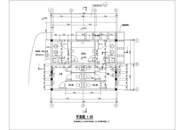 某单层砖混结构公共厕所(含管理室)设计cad全套建筑施工图(含设计说明)-图二