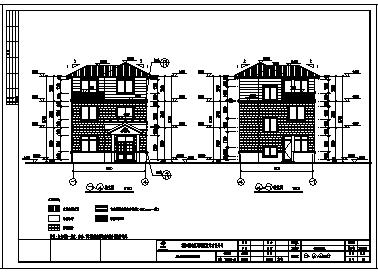 别墅设计_某三层砖混结构坡屋顶单家独院式别墅建筑施工cad图,含效果图-图二