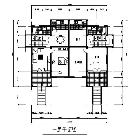 住宅设计_二层半仿古并联式村镇住宅建筑施工cad图,含效果图-图二