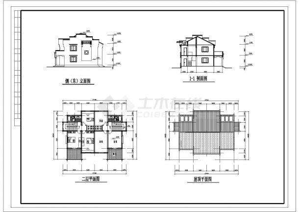530平米2层砖混结构别墅住宅楼建筑设计CAD图纸(1楼2户/含地下室)-图一