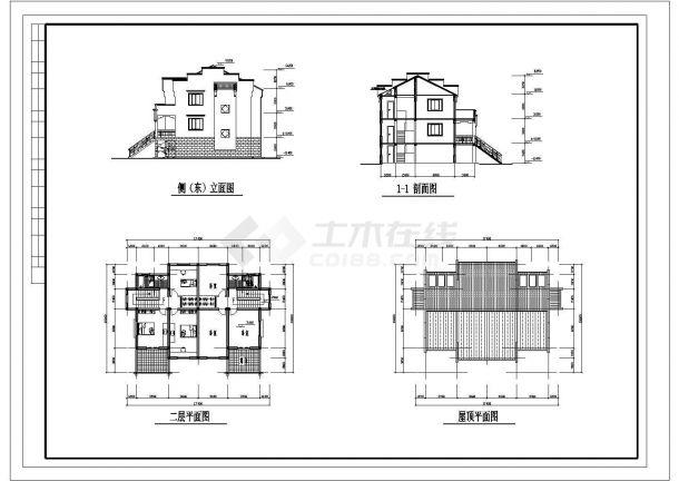 530平米2层砖混结构别墅住宅楼建筑设计CAD图纸(1楼2户/含地下室)-图二