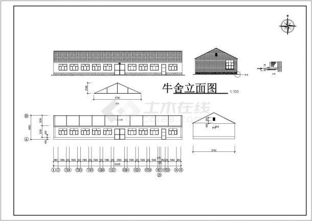 牧场设计_牧场建筑施工图设计CAD图-图二