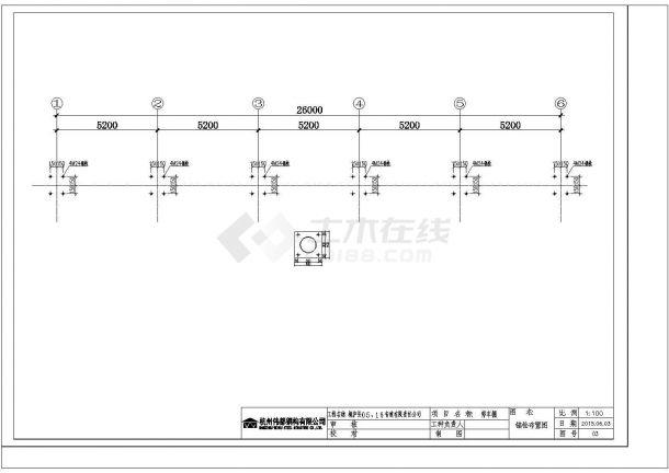南通某加工厂钢结构车棚设计全套cad图纸(含锚栓布置图)-图二