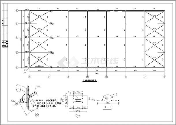 厦门三层商业用钢框架全套施工cad图-图一