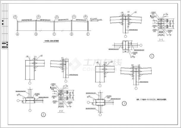 厦门三层商业用钢框架全套施工cad图-图二