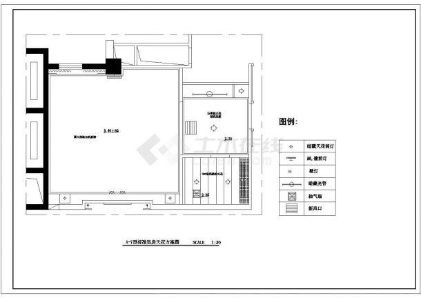 恒大集团某旅游度假村室内装修标准客房家私设计cad平面布置图-图二