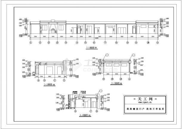 西安市某村镇390平米单层砖混结构联排别墅住宅楼建筑设计CAD图纸-图二