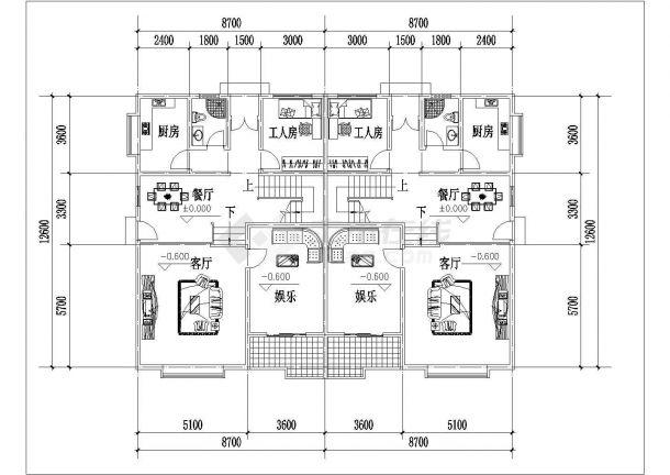 西安市张家村某270平米三层砖混结构单体别墅平面设计CAD图纸-图二