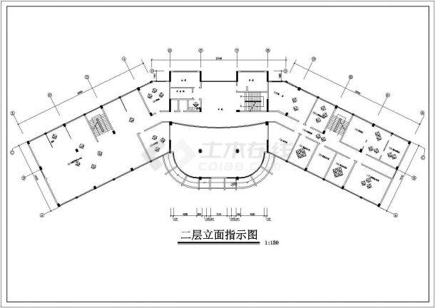 台州市某CBD区域写字办公楼室内装修设计cad施工图-图二