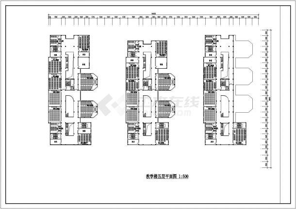 某城市总建筑面积37000多平米大教室教学楼建筑施工设计CAD图(含平立剖)-图二