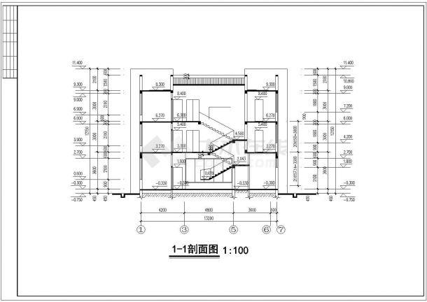 银川市某现代村镇357平米3层砖混结构独栋豪华别墅建筑设计CAD图纸-图一