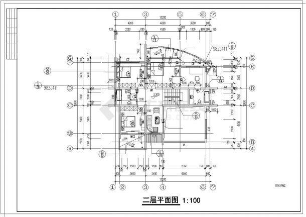 银川市某现代村镇357平米3层砖混结构独栋豪华别墅建筑设计CAD图纸-图二