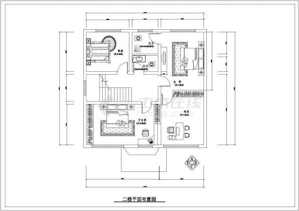 潍坊市长中村某2层砖混结构私人别墅全套装修装饰设计CAD图纸-图二