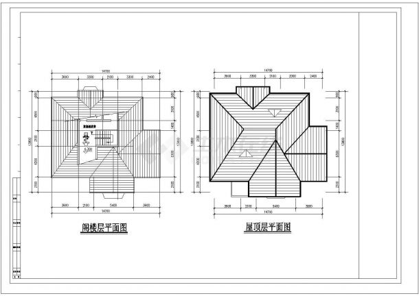 经典的2层砖混结构单体乡村别墅建筑设计CAD图纸(带阁楼/11套方案)-图一