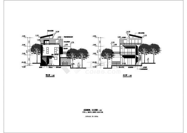 苏州市某别墅区3层框混结构私人单体别墅建筑设计CAD图纸(4套方案)-图二