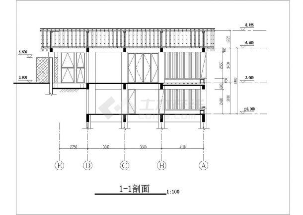 保定市某避暑山庄单层砖混结构单体别墅建筑设计CAD图纸(含地下室)-图二