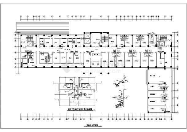 济南市某甲级医院12层框架结构门诊楼给排水CAD设计图纸-图一